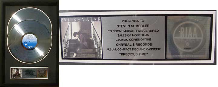 RIAA Precious Time double platinum record award