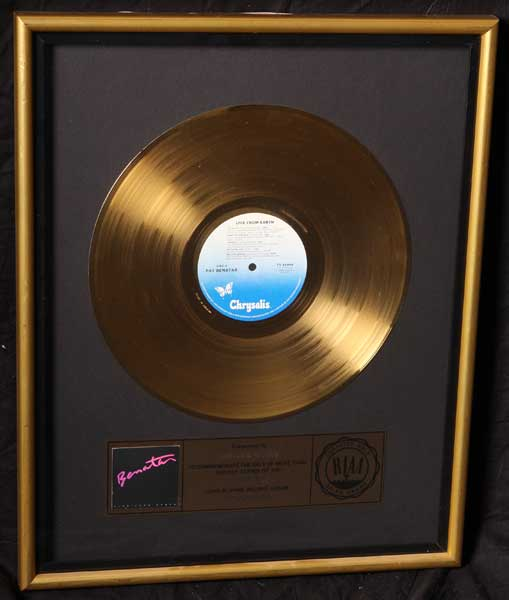 Pat Benatar RIAA gold record award Live From Earth