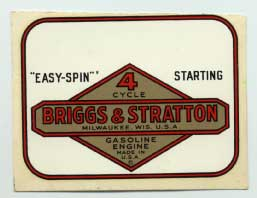 Briggs & Stratton engine decal